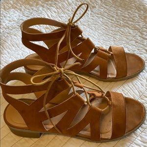 Wild Diva brown suede like scrappy sandals